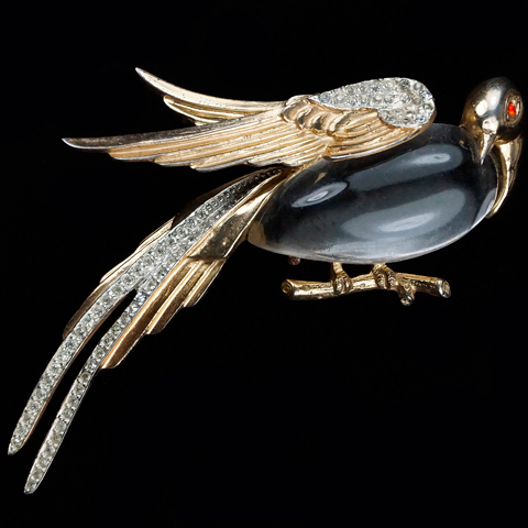 Corocraft Sterling Gold and Pave Jelly Belly Pheasant Pin