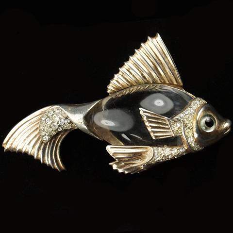 Sterling Corocraft Goldfish Jelly Belly Fish Pin