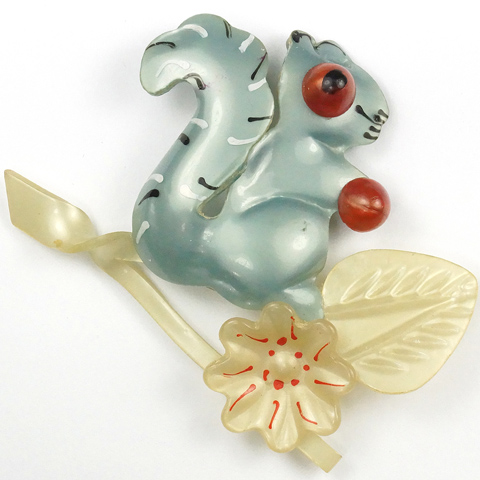 Coro Celluloid Blue Squirrel on a Branch Pin