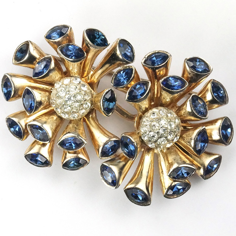 Corocraft Sterling 'Marguerite' Gold Pave and Sapphire Double Flower Duette