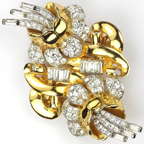 Coro Gold Pave and Diamante Baguettes Double Camellias Pin Clip Duette
