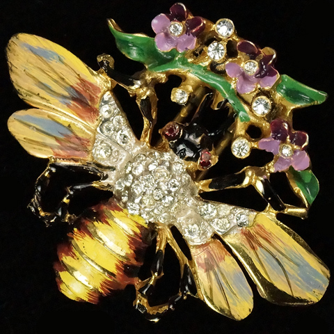 Corocraft Sterling Pave and Enamel Bee with Flowers Pin Clip