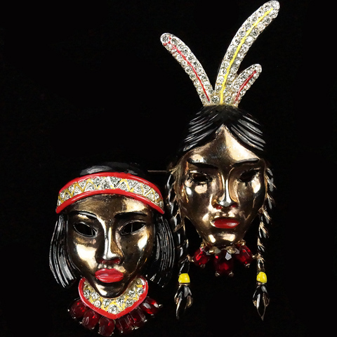 Coro Gold Pave and Enamel Native American Indian Couple Duette