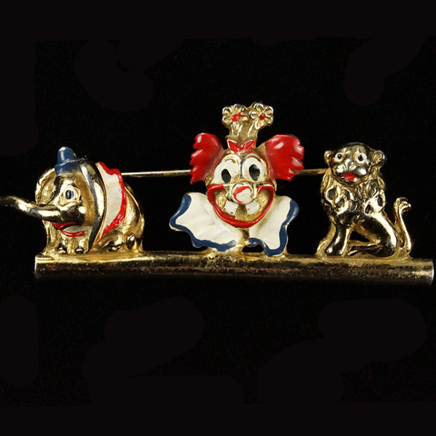 Coro Walt Disney 'Dumbo Jewelry' Gold and Enamel Dumbo Clown and Lion Pin