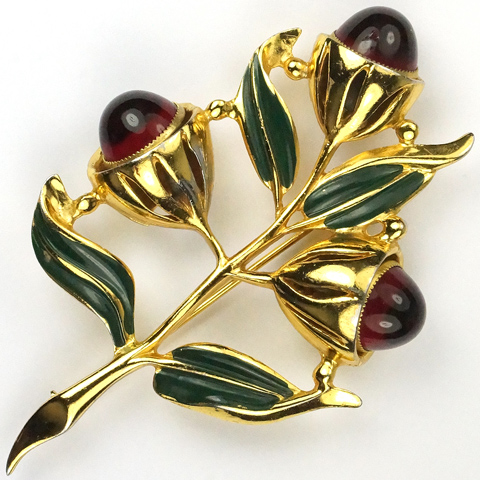 Coro 'Adolph Katz' Gold Green Enamel Leaves and Ruby Cabochons Triple Camellia Carmen Miranda  Floral Spray Pin