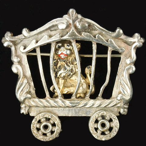 Coro Walt Disney Productions 'Dumbo Jewelry' Lion in Railcar Cage Pin