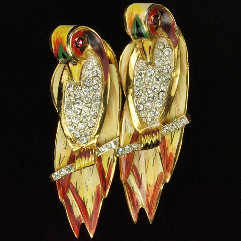 Corocraft Sterling Pair of Stylized Love Birds on Branch Pin Clip Duette