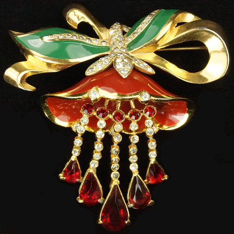 Coro Gold and Enamel Lotus Flower with Multiple Pendants and Golden Bowknot Pin