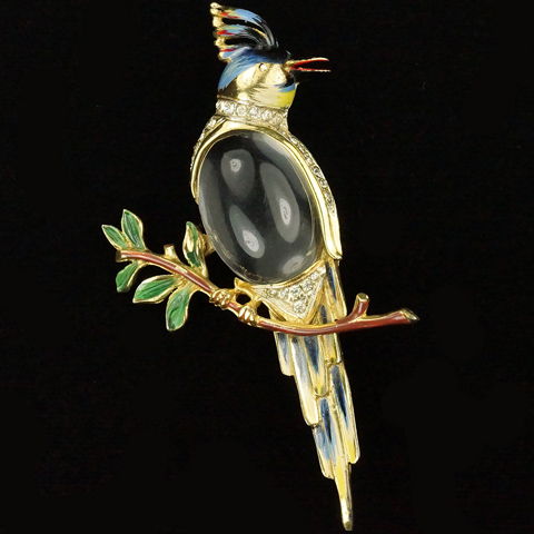 Corocraft Sterling Gold and Enamel Jelly Belly 'Ara' Parrot Bird Pin