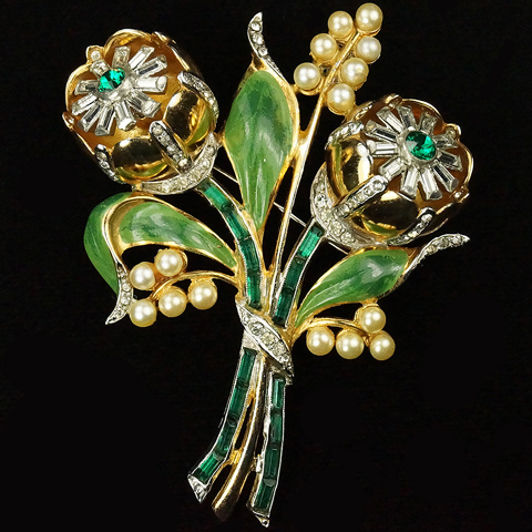 Coro 'Gene Verrecchio' Gold Enamel Pearls and Baguettes Double Trembler Camellias Floral Spray Pin