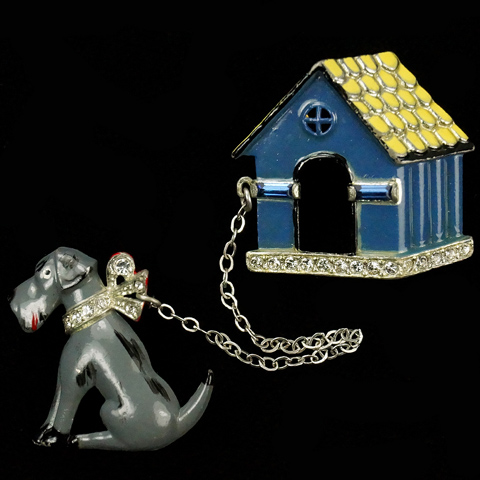 Coro Grey Dog on Chain and Blue Kennel Chatelaine Pins