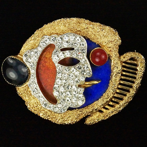 Vendome Georges Braque Gold Pave Lapis Coral and Sapphire Abstract Face Pin