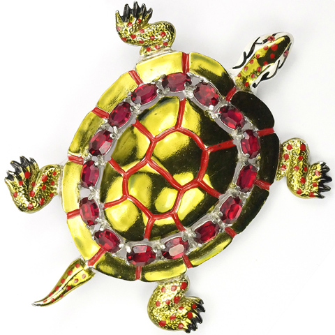 Coro Gold Metallic Enamel and Rubies Giant Turtle Pin