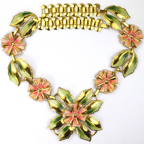 Coro (? unsigned) Gold and Enamel Flowers Necklace