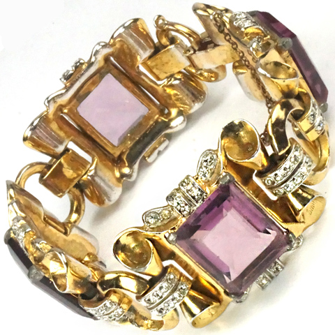 Coro Gold Scrolls Pave Highlights and Square Cut Amethysts Four link Bracelet
