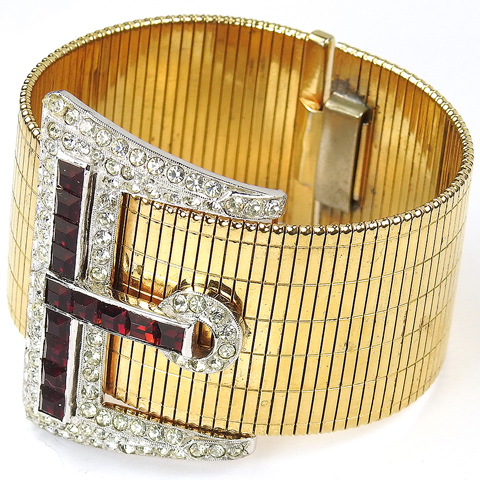 Coro Gold Pave and Invisibly Set Rubies Articulated Belt Buckle Bracelet