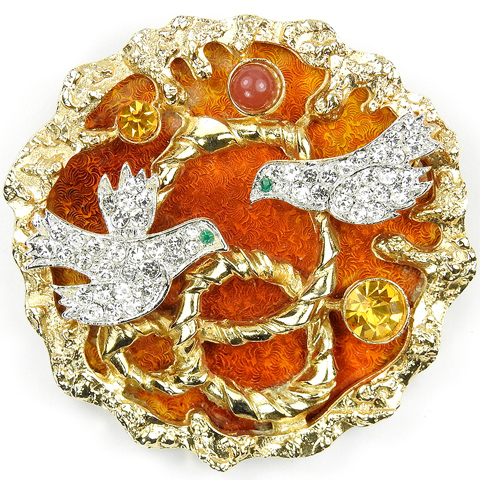 Vendome Georges Braque Gold Pave Citrine and Carnelian Two Lovebirds in a Nest Pin