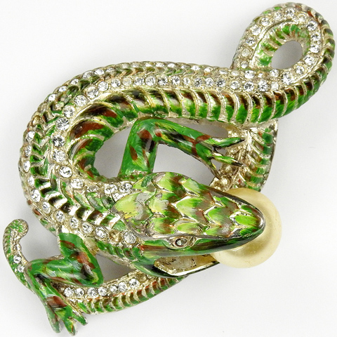 Corocraft Sterling 'Jewels of Fantasy' Pave and Enamel Lizard Eating a Pearl Egg Pin