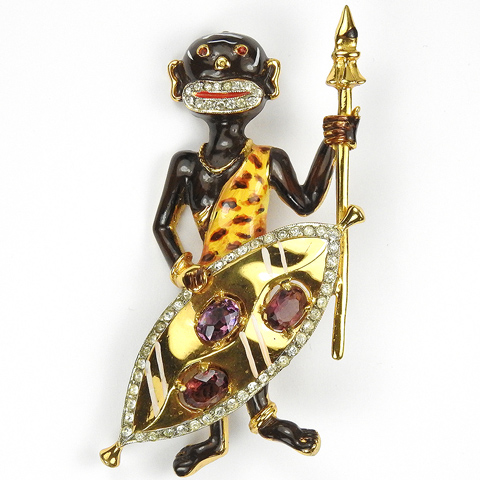 Corocraft Sterling Blackamoor African Zulu Tribesman with Spear and Shield Pin