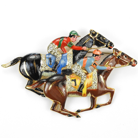 Corocraft Sterling Two Racehorses with Jockeys at the Finish Line Pin