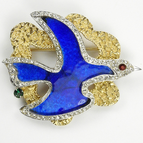 Vendome Georges Braque Gold Pave and Lapis Bird Flying in a Golden Cloud Pin