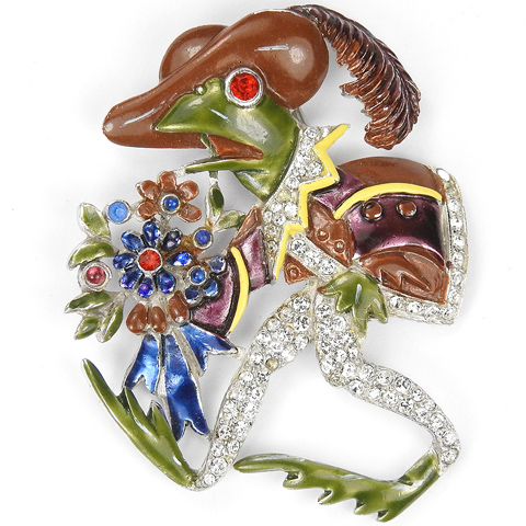 Coro 'Frog Went a-Courting' with Bunch of Flowers Bouquet with Bow Pin Clip
