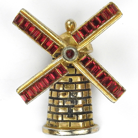 Coro (?) Gold and Invisibly Set Rubies Windmill Pin Clip