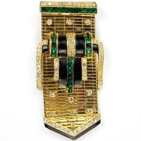 Coro Gold and Invisibly Set Emerald Garter Belt Buckle Pin Clip