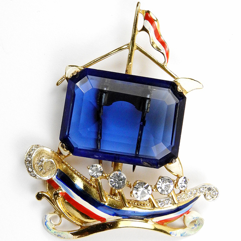 Corocraft Sterling WW2 US Patriotic Red White Blue and Gold Ship with Sapphire Sail Pin Clip
