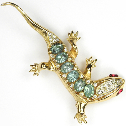 Coro Gold Pave and Aquamarines Lizard Pin