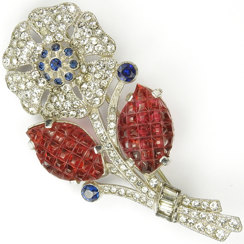 Coro Pave Sapphires and Invisibly Set Rubies Flower and Leaves Pin