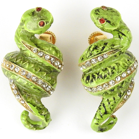 Vendome Pave and Green Eneamel Coiled Snakes Clip Earrings