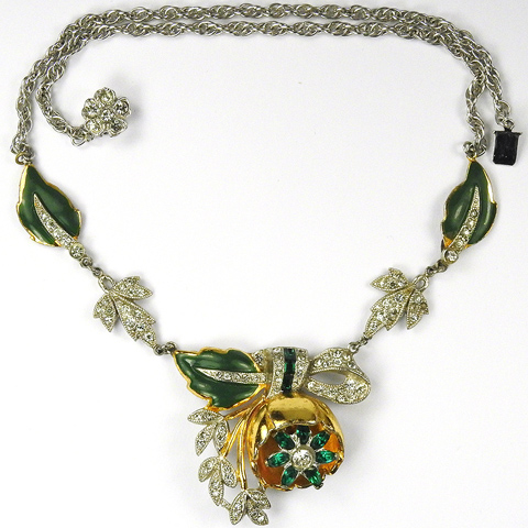 Coro 'Adolph Katz' Gold Pave Invisibly Set Emeralds and Enamel Quivering Camellia Necklace