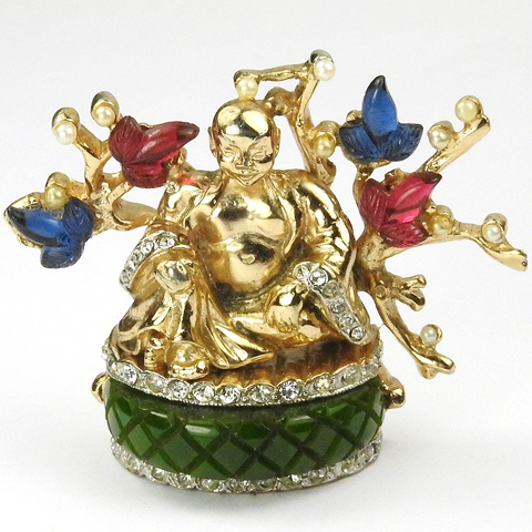 Coro 'Adolph Katz' Gold and Jade Seated Buddha in Garden with Pearl and Fruit Salad Tree Pin