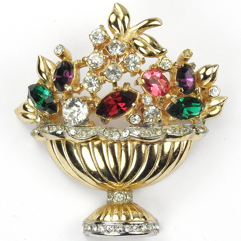 Coro Gold and Pave Multicolour Flowers Flower Basket Pin