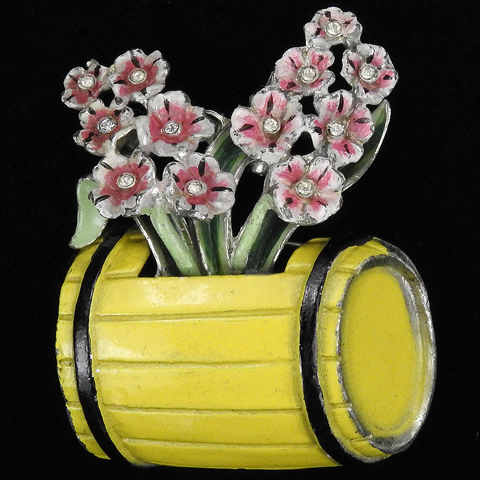 Coro Spangles and Enamel Floral Bouquet in a Flower Barrel Pin