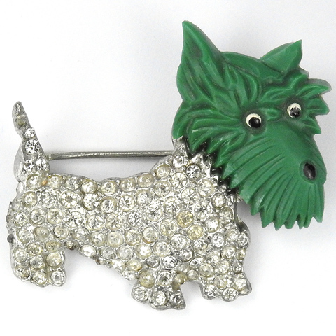 Coro Pave and Green Bakelite Scottie Terrier Dog Pin