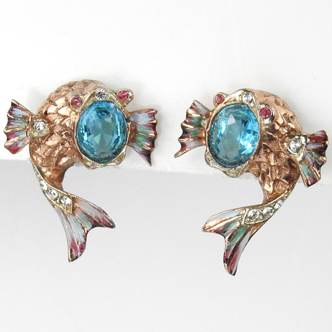 Corocraft Sterling Gold and Aquamarine 'Jewelled Dolphins' Leaping Fish Screwback Earrings