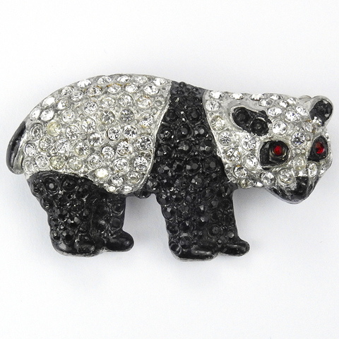 Coro Pave and Onyx Black and White Giant Panda Bear Pin