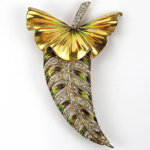 Corocraft Sterling Gold Pave and Enamel Tropical Leaf or Fruit Pin