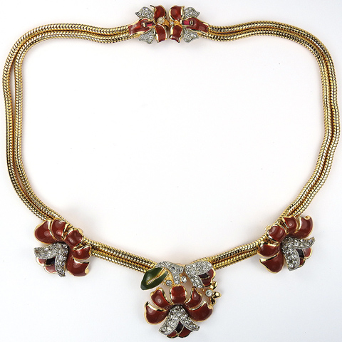 Coro Gold Pave and Maroon Enamel Triple Lotus Flowers with Bow Clasp Necklace