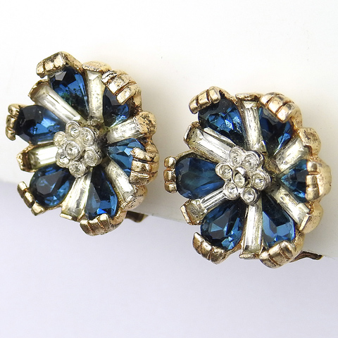 Coro (unsigned) Gold Sapphire and Diamante Flower Clip Earrings