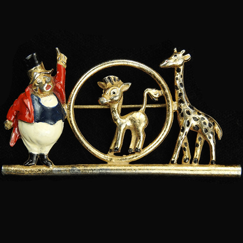Coro Walt Disney 'Dumbo Jewelry' Gold and Enamel Circus Ringmaster Mother Giraffe and Baby Giraffe in a Hoop Pin