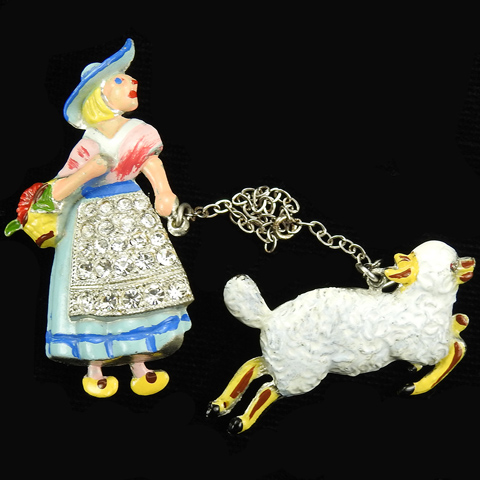 Coro Pave and Enamel Mary Had a Little Lamb Nursery Rhyme Chatelaine Pins