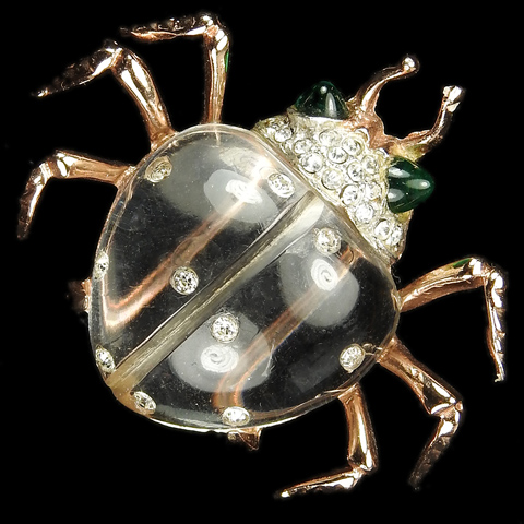 Coro Sterling 'Twinkling Twins' Jelly Belly Gold and Pave Beetle Pin Clip