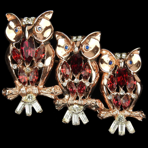 Corocraft Sterling Gold and Ruby 'Night Owls' Triquette