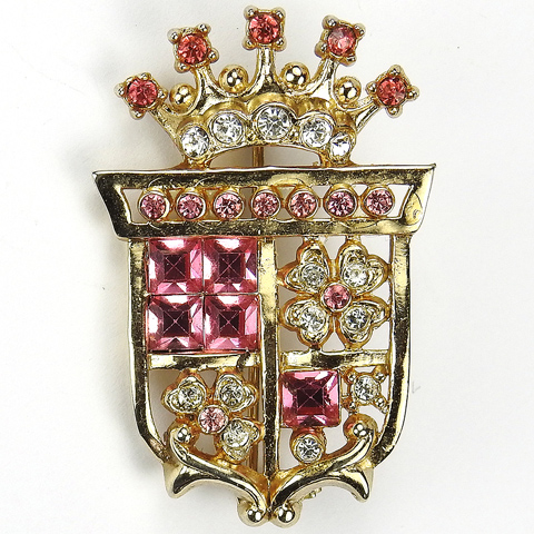 Coro Gold Diamante and Pink Topaz Crown and Quartered Shield with Four Leaf Clovers Heraldic Crest Pin