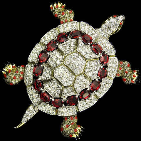 Coro Gold Pave and Rubies Giant Turtle Pin