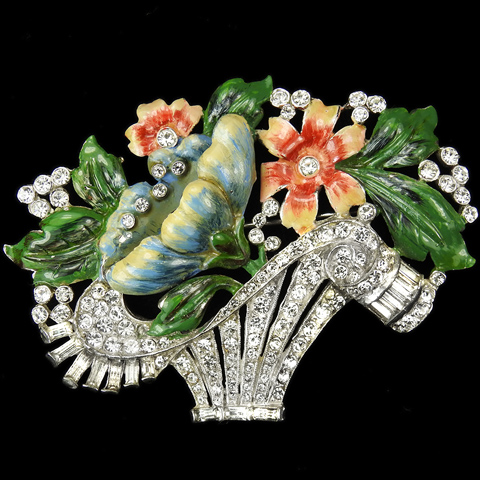 Coro Pave Enamel and Baguettes Swirling Flower Basket Pin