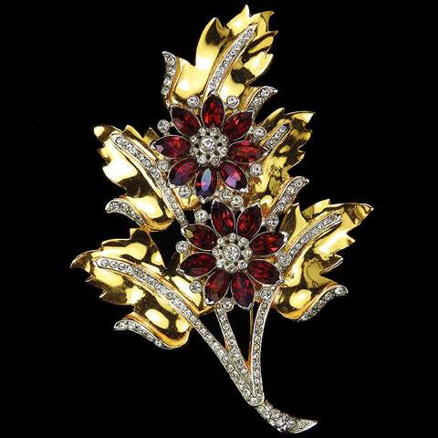 Corocraft Gold Pave and Ruby Giant Double Starflowers Floral Spray Pin